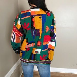 Vintage Alfonso Pozo Colorful Cardigan Sweater